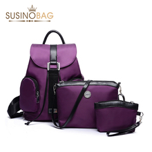 Nylon Backpack 3 Pcs/Set Women Bag High Quality Travel Bag Backpack Colorful Shoulder Bags coin Collect Student School Bags(China (Mainland))