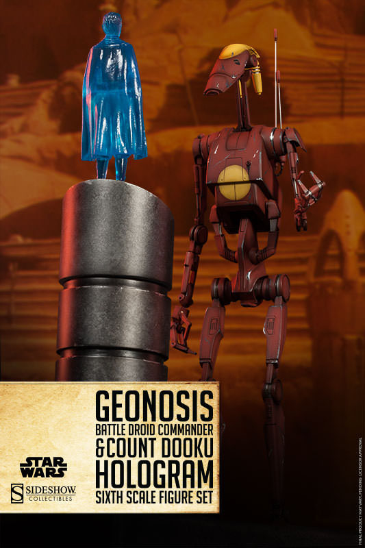 sideshow 1002852 1:6 Star Wars Geonosis Commander Battle Droid and Count Dooku Hologram collectible action figure in stock(China (Mainland))