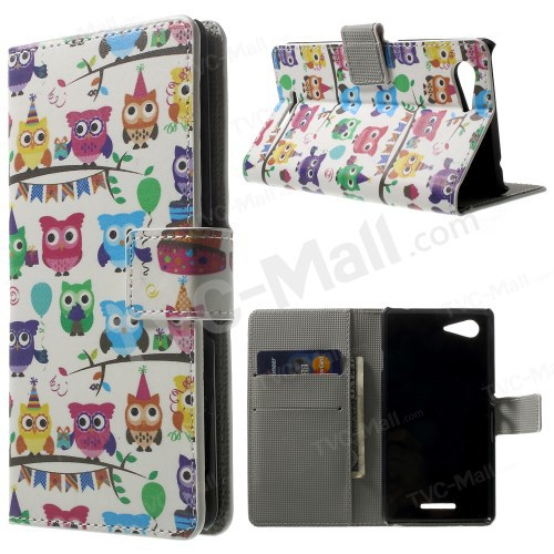 Multiple Owls PU Leather Magnetic Case w/ Card Slots For Sony Xperia E3 D2203 D2206 / E3 Dual SIM Mobile Phone Bag Free Shipping(China (Mainland))