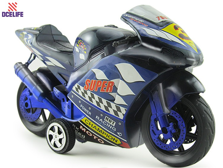 100% Newest Factory Design Blue Red Color 20.5*11.5*7CM Kids Mini Plastic Motorcycle Model Toy TR03H7(China (Mainland))