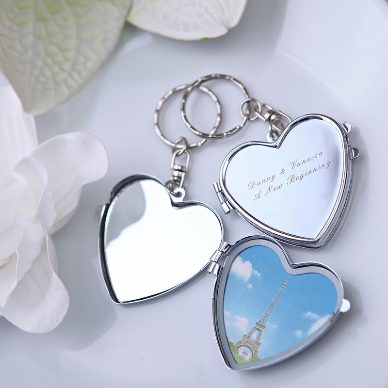 48 шт  Персонализированные Брелок сердце с зеркалом свадьбы пользу и подарок для гостей много Выгравировать Логос