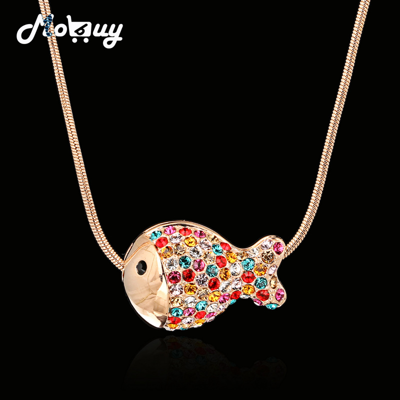 Imitation Gemstone Fish Pave 18K Rose/White Gold Plated Necklace & pendants Jewelry For Women CZ Diamond colares joias OBN009M(China (Mainland))