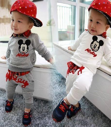 Spring cotton Mickey minni Toddlers Children Baby Boys Girls Autumn Spring 2 Pcs Clothing Set Suit Pattern T-Shirt+Pants Sets(China (Mainland))