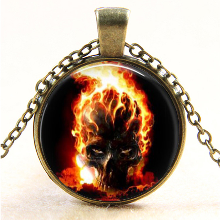 Ghost Rider burning skull Glass pendant necklace vintage bronze movie art Photo Glass Dome Gothic necklaces jewelry Easter gift(China (Mainland))