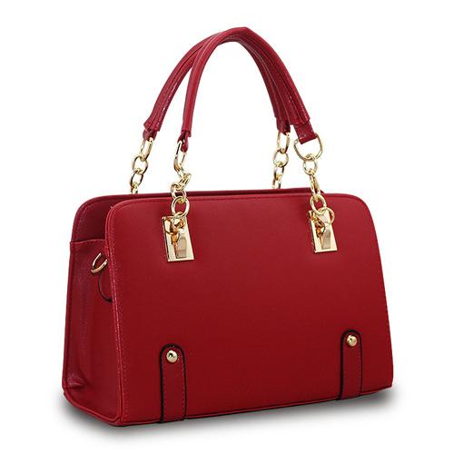 top quality chain women handbag red plaid bag spade socialite plain shiny pu tote bag with chain superga gorjuss santoro spanish(China (Mainland))