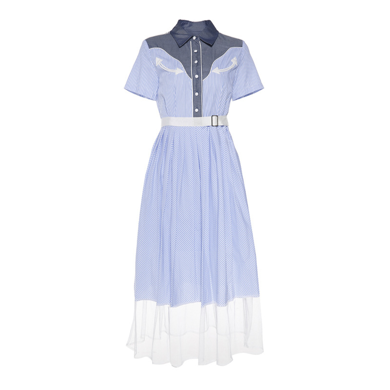 2016 new summer white blue striped dress Denim patchwork mesh preppy style ture-down collar long sashes Single-breasted women(China (Mainland))
