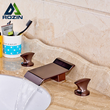 Buy Oil Rubbed Bronze Widespread Dual Handle Three Holes Waterfall Basin Mixer Faucet Deck Mounted Mixer Water Taps for $82.11 in AliExpress store