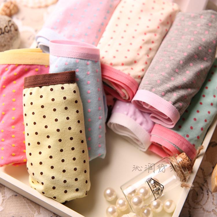 Lady Girl Modal Lovely Bamboo Charcoal Cute Dot Wholesale Women Underwear Panties 007(China (Mainland))