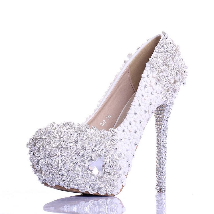 Shoes High Heel Wedding Shoes White Flower Girl Party Bridesmaid Shoes