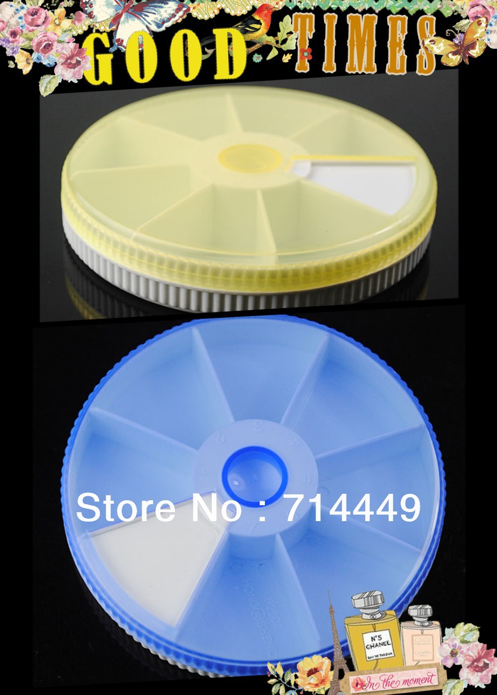 New Portable Rotundity Medicine Case Organizer Pillbox Drug Box Compact Size Candy Color 7 Fan-shaped compartments(China (Mainland))