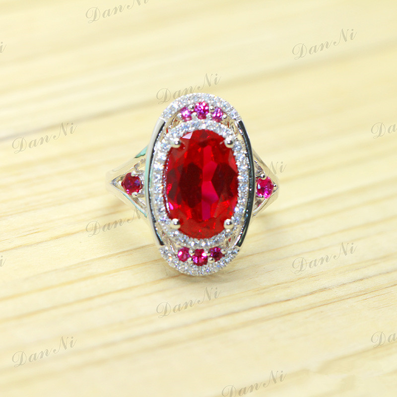 All flowers surrounded by classic Royal Style 5.5 CT Luxury Trendy Ruby Rings Genuine 925 Sterling Silver ladies jewelry(China (Mainland))