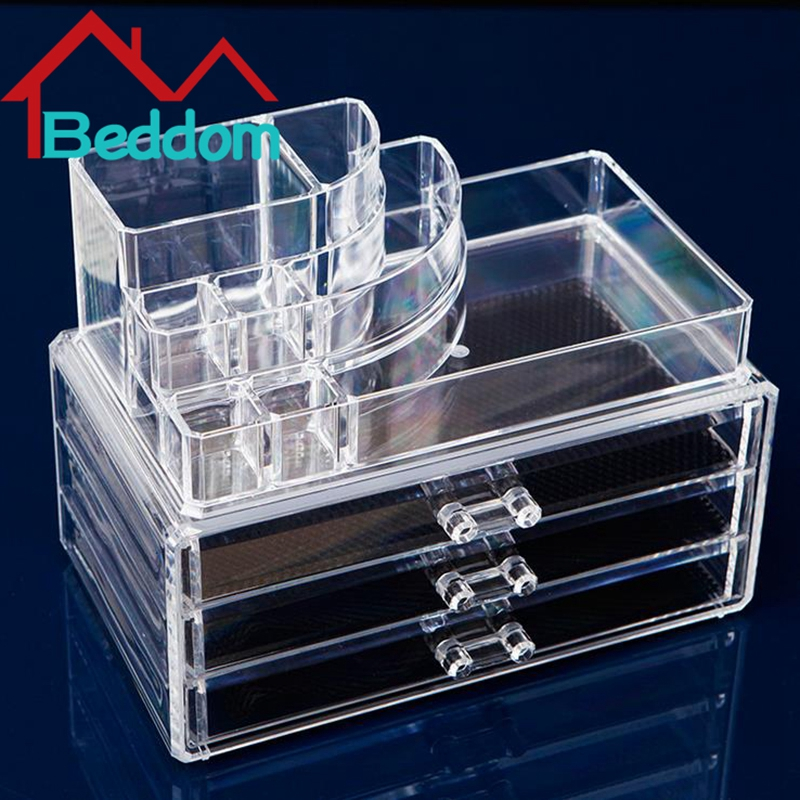 Beddom Moldiy Acrylic Clear Cosmetic Holder Large3 Drawer Jewelry Chest or Make up Case Lipstick Brush Holder Cosmetic Organizer(China (Mainland))