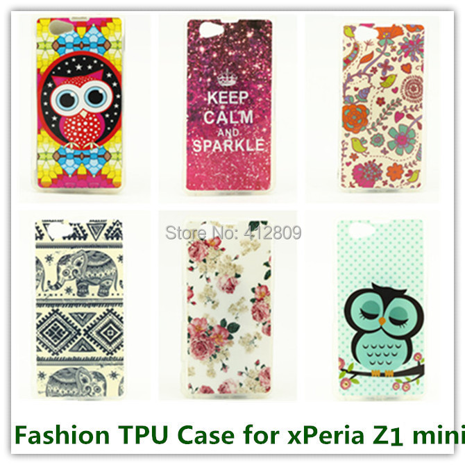 100PCS Artistic Tribe Pattern Soft Animal Owls Keep Calm Soft Skin Cover for Sony Xperia Z1 Compact /Z1 Mini Skin Cover Cases