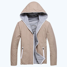 2015 Spring and Autumn new men's double jacket hooded cotton jacket wholesale 2 color plus size L-3XL  free shipping 45(China (Mainland))