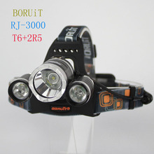 Super bright  BORUiT RJ3000 5000Lm CREE XML T6+2R5 LED 4-mode Headlight Headlamp Head Lamp Light Flashlight  Camping Fishing(China (Mainland))
