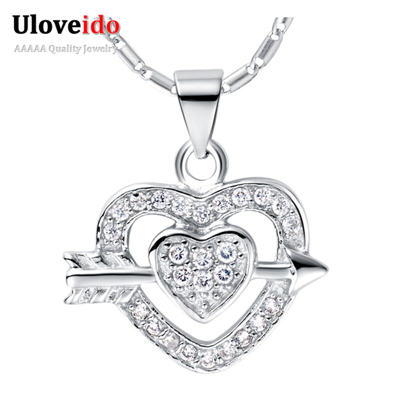 Heart Necklaces For Women Silver Plated Jewelry White Gold Plated Chain With CZ Diamond Necklace Collares Mujer Uloveido N669(China (Mainland))