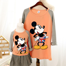 2016 autumn family clothing causal t shirts for children women plus size cartoon mickey t shirt matching mother daughter clothes