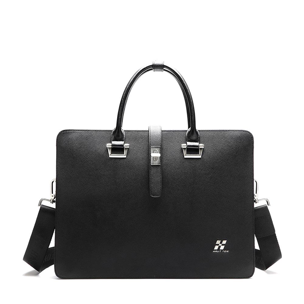 Mens Business Cowhide Cross Genuine Leather Shoulder Messenger Bag Handbag Black<br><br>Aliexpress