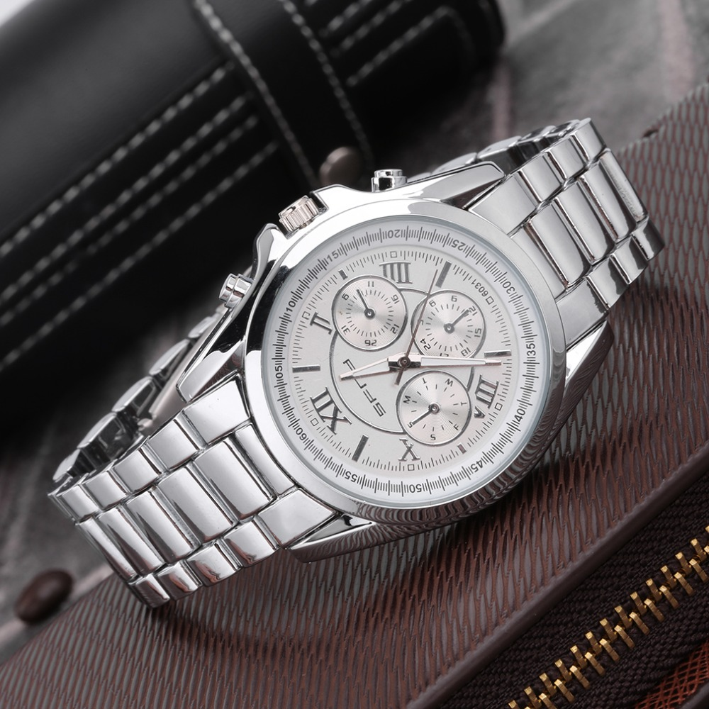 Hot!Women Men Round Dial Stainless Steel Band Quartz Wrist Watch Chronograph Promotion brand new and Newest<br><br>Aliexpress
