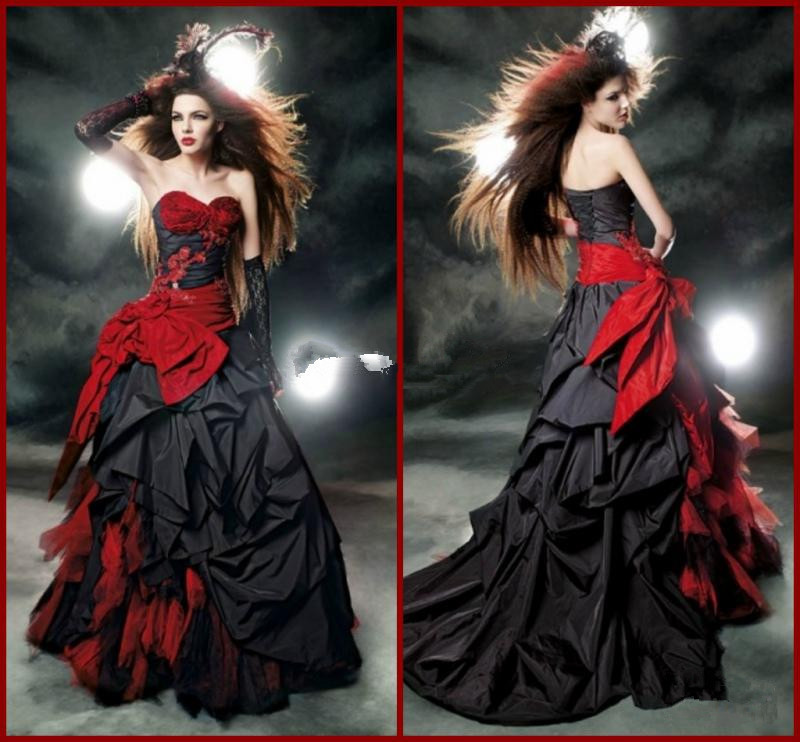 2015 Sexy Vintage Black and Red Gothic Wedding Dresses Taffeta Bow A ... Vintage Black And Red Bridesmaid Dresses