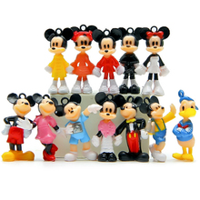 12pcs/set Cartoon Mickey figures Minnie figure Mouse Donald Duck 4cm Cartoon Mickey dolls Childre's toy for kid gift