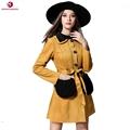 2016 Sinofashion New Autumn Winter Women Outwear 16887 New Long Suede Tunic Bow Turn Down Collar