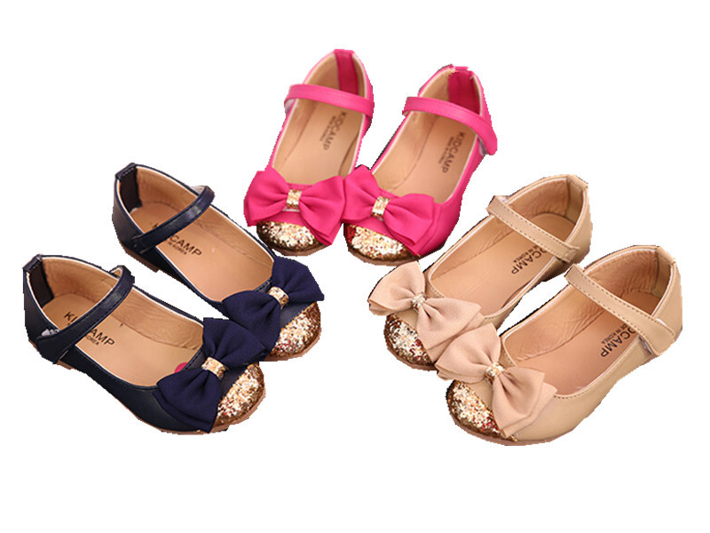 high quality children's sandals leather single shoes kids child girls princess bowtie flat shoes(China (Mainland))