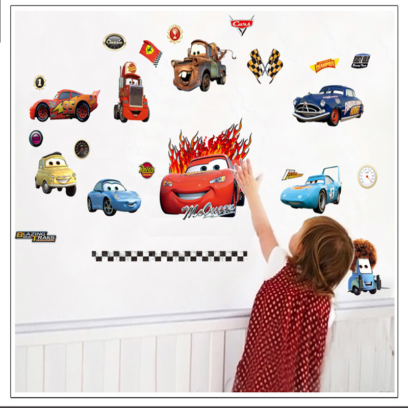 3D Car Sticker Baby Wall Stickers For Kids Bedroom General Mobilization Wall Stikers For Kids Room Home Decor(China (Mainland))