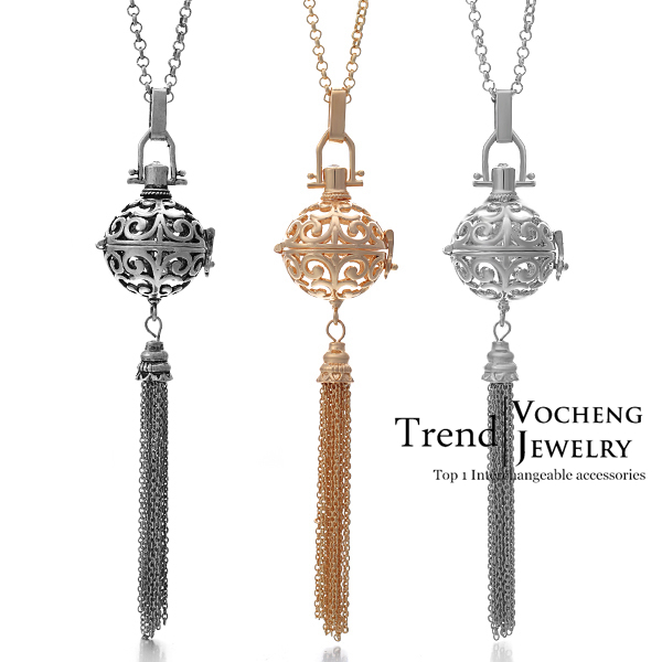 Wind Chime Pendant 3 Colors Brass Metal Pregnancy Angel ball in Chain Necklaces (VA-039) Free Shipping(China (Mainland))