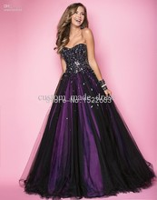 Sexy Amazing Long Prom Dresses Black Purple Strapless Sequin Floor Length Crystal Ruffle Tulle Backless Formal Evening Gown 1448(China (Mainland))