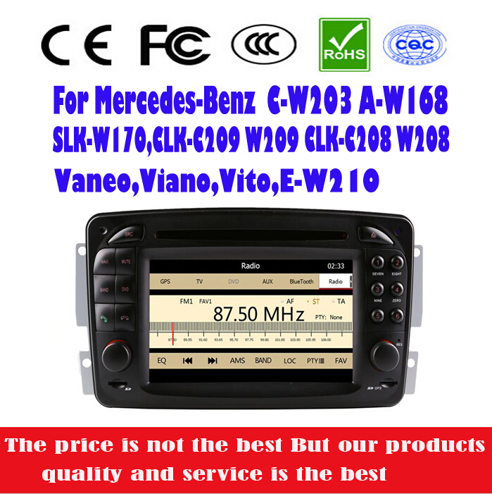 Car DVD Player For Mercedes Benz C W203 A W168 CLK C209 W209 G W463 Stereo Radio with GPS+IPOD+BT+DVD+RM/AM+RDS+SD+USB+RCA+AUX(China (Mainland))