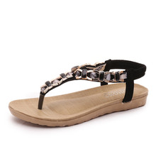 2016 summer fashion elegant  women flat sandals cozy t-strap shoes woman sandals black Cream-colored sapato feminino