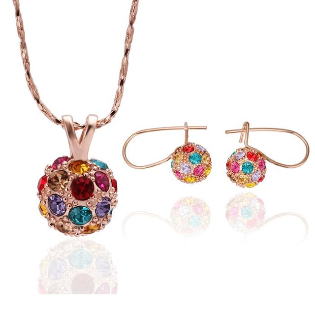 18KS049 Ball K Gold Plated Jewelry Wedding Set Nickel Free  Rhinestone Made with Austrian  Element Crystal Health