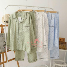 Sell Men's Qualify Cotton Linen Pajama Set Long Sleeve Loungewear Buttons Down Cozy Pattern Printed Economic Free Shipping(China (Mainland))
