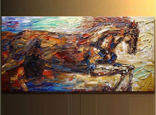 Buy 100% hand-painted horse modern knife oil paintings on canvas 24X48 cheap