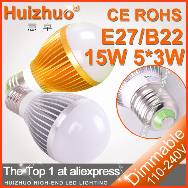 [Huizhuo Lighting]Free Shipping High Powr 3*3W 5*3W AC85-265V Silvery/Gold LED Bulb Light