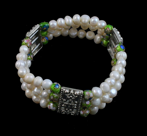 Free shipping!!!Freshwater Cultured Pearl Bracelet,Punk Style, Freshwater Pearl, with Cloisonne & Zinc Alloy, 6-7mm