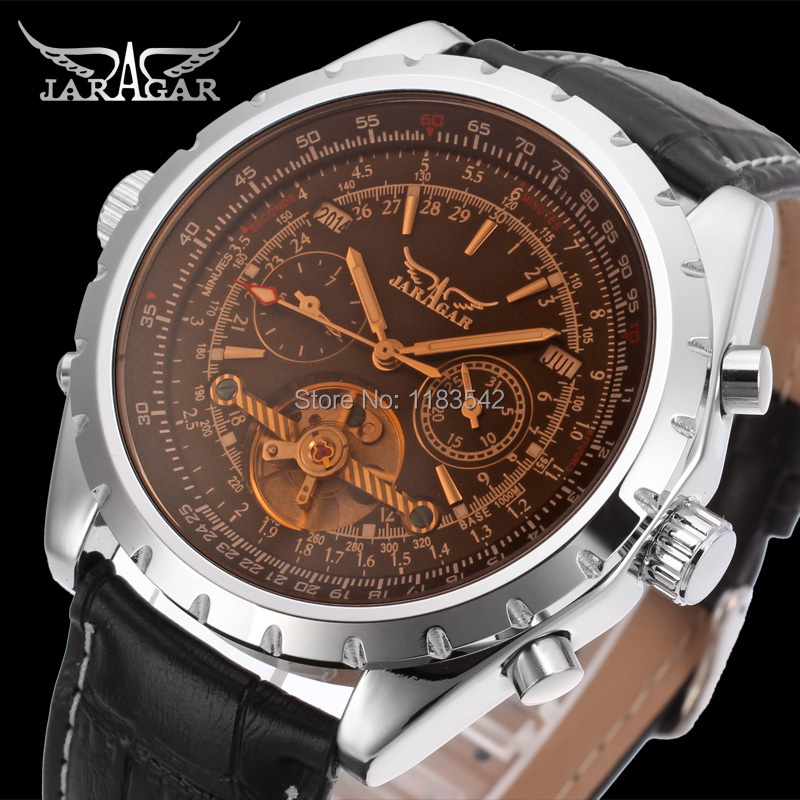 2014 Jargar new Automatic men  fashion tourbillon silver metal  watch with black leather band free shipping<br><br>Aliexpress
