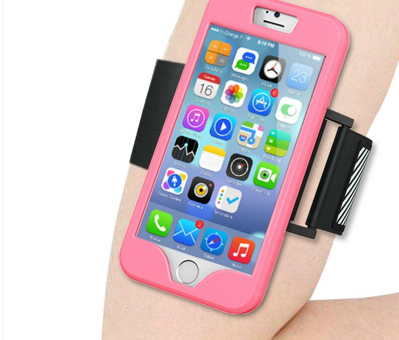 GYM Armband + Silicone Case Cover for iPhone 5 5S SE 6 6S 7 Plus Sport Running Jogging Belt Wrist Band Strap Phone Accessaries