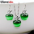 Alemi 49 off Pink Crystal Wedding Apple Jade Jewelry Sets 925 Sterling Silver Necklace Set for