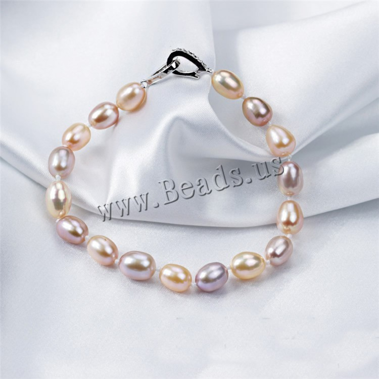 Best Pearl Real Natural Freshwater Pearl Bracelet with 925 sterling silver Clasp Cultured Genuine Pearl Bead charm chain jewelry(China (Mainland))