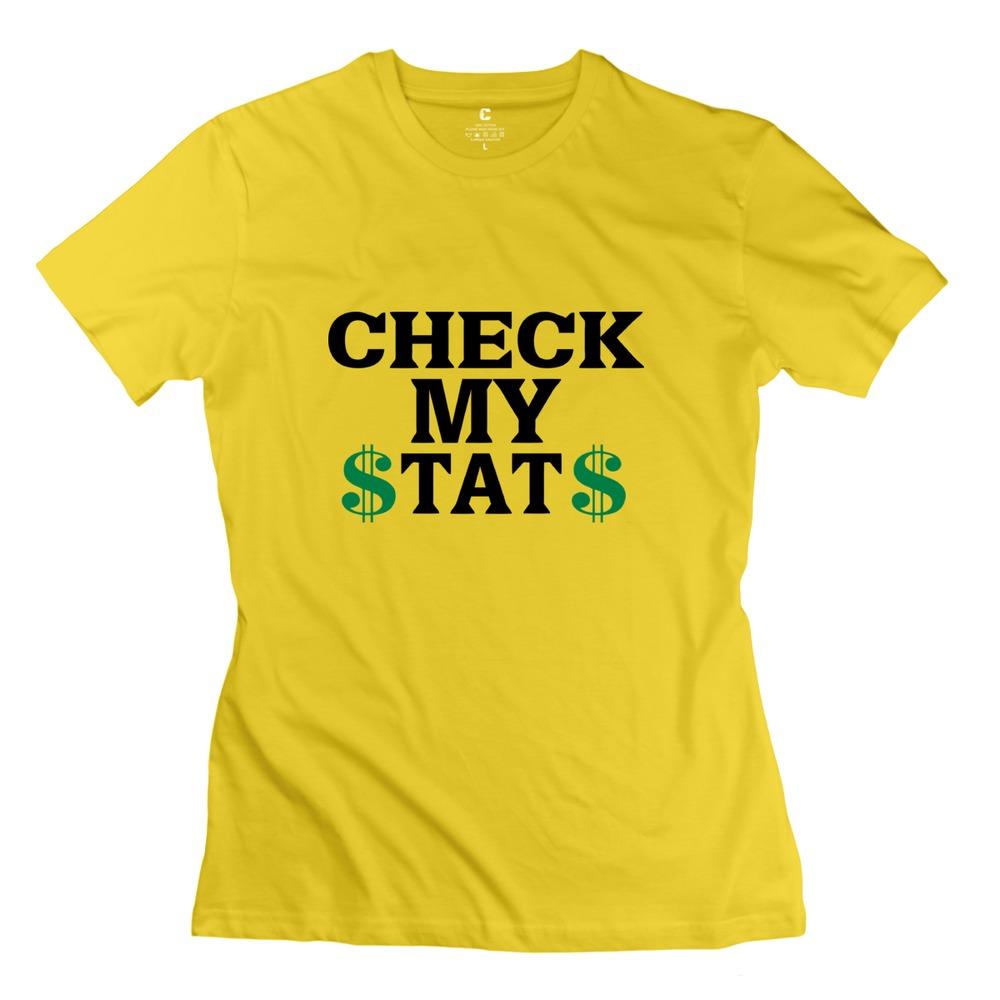 2015 Swag Check My Stats Women tshirt High Quality Short Sleeve 100% Cotton Girl's tees shirt Wholesale(China (Mainland))