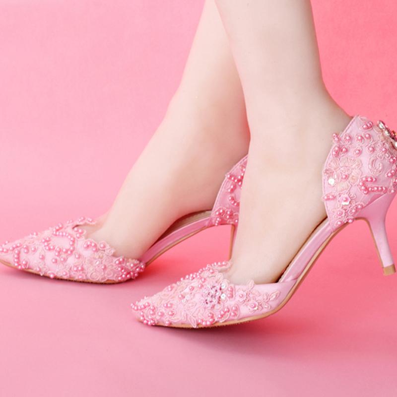2015 Fashion Pink Lace Proms Wedding Shoes Women Bridal Shoes Elegant Sweet Evening Shoes Women Pumps Valentine Prom Party Shoes<br><br>Aliexpress