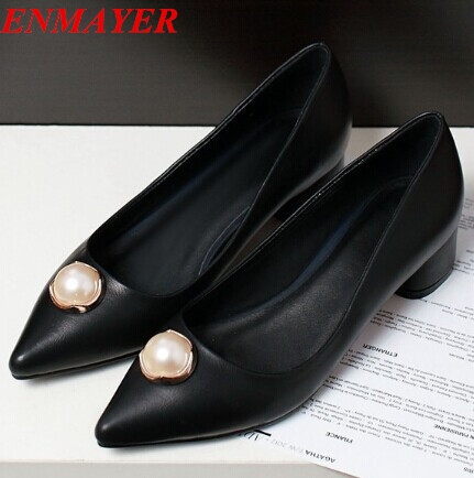 ENMAYER Pointed Toe Square heel Med fashion Sequined women pumps high heels party shoes Spring Platform pumps new 2015 size34-39<br><br>Aliexpress