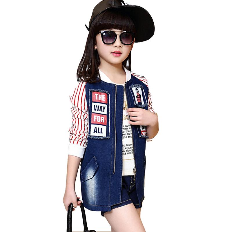 Girls jean jacket of autumn and spring children new big girls fashion denim blazer kids long sleeve stripe splicing long coat(China (Mainland))