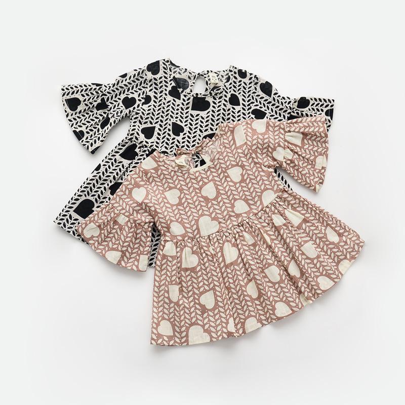 2016 new children heart printed dress girls flare sleeve dress kids cotton dress children princess dress kids cotton clothing A8(China (Mainland))