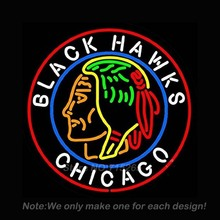 Chicago Black Hawks Neon Light Sign Real Glass Tube Neon Bulbs Beer Bar Pub Recreation Room Garage Sign Neon Sign Store 24x24(China (Mainland))