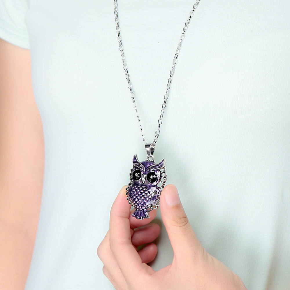 2015 Hot Sale Purple Owl Pendant Collar Chain Long Statement Necklace Vintage Owl Necklace Women Jewelry(China (Mainland))