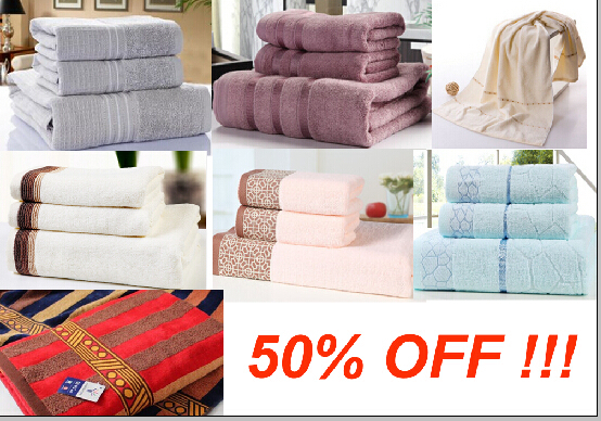 3pcs 100% Cotton Bath Towel Set luxury brand towel cheap beach towels serviette cotton(China (Mainland))