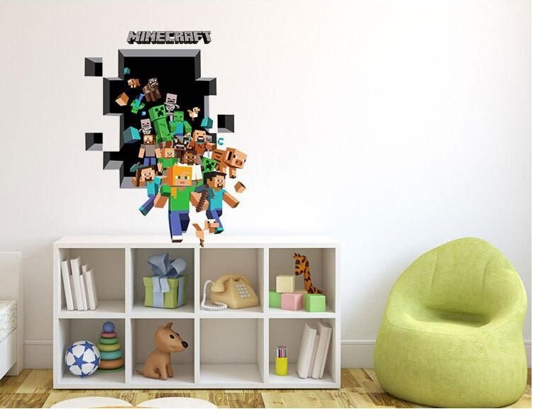 Minecraft Party Wall Stickers Cartoon Wallpaper 3D Decorative Wall Decals Wallpaper Party Decorations Decor 2015(China (Mainland))